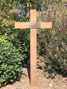 """Wooden Memorial Cross Grave Marker 28"""" Free Plaque & Free Engraving in memory of"""