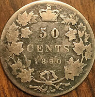 1890H CANADA SILVER 50 CENTS COIN - Very rare top keydate coin