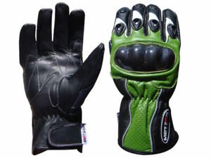 Motorcycle Motorbike Leather Gloves Carbon hard Knuckle KAWASAKI GREEN