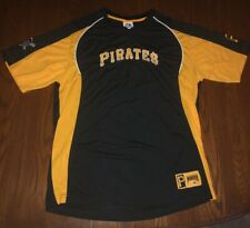 Mens Majestic MLB Pittsburgh Pirates Baseball Black T-shirt Size Large