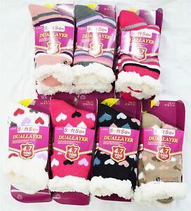 Ladies Soft Fleece Dual Layer 4.7Tog Socks Fluffy Winter Warm Slipper Boots