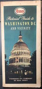 1940s Road Map ESSO Pictorial Guide to Washington D.C. Alexandria VA