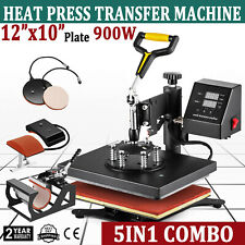 5 in 1 Heat Press Machine Digital Sublimation Swing Away T-Shirt Plate Hat Mug
