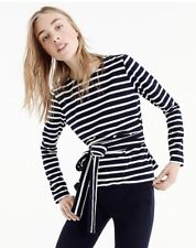 J.Crew Navy Ivory Striped Belted Cross Back Top Nautical Size Small