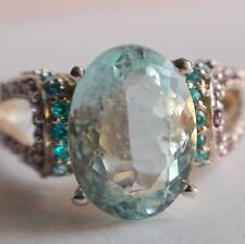BEST! NATURAL AQUAMARINE 4.50 CT,APATITE,RING 925 SILVER,VINTAGE ESTATE.S-E 6,5.