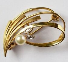 Theodor Klotz Pforzheim Brosche 8 Karat 333 Gold 2,62 g Gelbgold Weißgold Perle