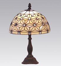 Tiffanylampe Tiffany Lampe Tischlampe natur, weiß, Glasperlen neu T95 M