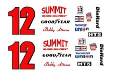 #12 Bobby Allison Summit Racing 1/64th HO Scale Slot Car Waterslide Decals