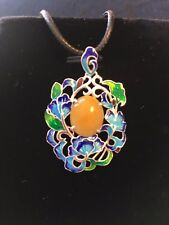 Natural Honey Yellow Jadeite Jade(Type A) 925 Silver & Enamel Pendant with Rope