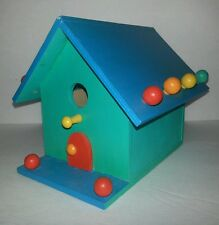Unique Handcrafted wooden Bird House Colorfully Decorated Dancing Moon Design
