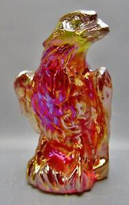 "7970 Boyd Art Glass EAGLE Amberina Carnival Glass 2¾"" Figurine 1988-1993"