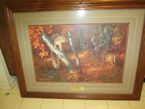 "Vintage 33"" Wood Framed Hayden Lambson Rustic Limited Edition Fall Deer Print"