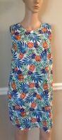 Tabitha Webb blue/green pineapple print sleeveless sheath dress ladies size 8 NW
