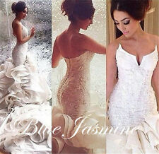 Sexy Sweetheart Mermaid Wedding Dress Bridal Gown Long Train Custom Made Plus