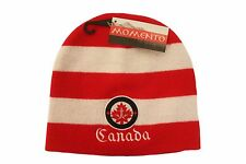 CANADA MAPLE LEAF RED - WHITE WIDE STRIPES & EMBROIDERED WORD TOQUE MOMENTO HAT