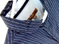 Pronto Uomo Blue Dress Shirt Blue Striped Size XL Cotton Long Sleeve Flip Cuff