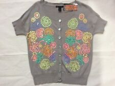 MNG SPORTSWEAR - Short sleeves Jumper with Flowery sequin pattern Size Large