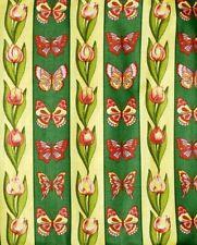 New 1 YARD 45 x 54 Striped YELLOW GREEN BURGUNDY PURPLE  Flowers Tulip Butterfly