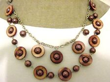 """24"""" Brown Real Shell Bronze Glass Pearl Beaded Statement Necklace New Fair Trade"""