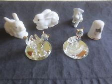 6 Vintage CHINA MINIATURE FIGURINES - Terrier, Bunnies, Cats - Items Listed
