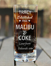 Engraved Personalised Boxed Malibu & Coke Glass Birthday Xmas Gift Est. Heart