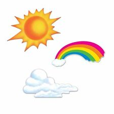Pack of 3 Sun Rainbow and Cloud Cutouts - 61 - 79 cm - Weather Party Decorations