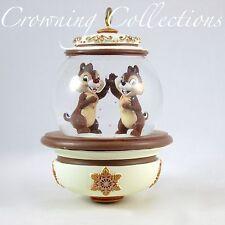 Disney Store Chip 'n' Dale Snow Globe Ornament Chipmunks and Glitter Snowglobe