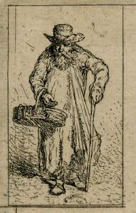 Antique Master Print-GENRE-OLD MAN-BASKET-STICK-Jacque-1844