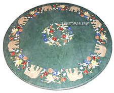 """30"""" Green Marble Coffee Round Table Top Elephant Marquetry Inlay Room Deco H2388"""