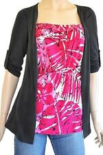 TEMT SZ S (8-10) WOMENS Dark Grey & Pink Print Half Sleeve 1 Pce Top & Jacket