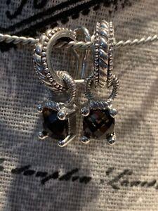 JUDITH RIPKA STERLING SILVER EARRING CHARMS, SMOKY QUARTZ &  Pierced Earring