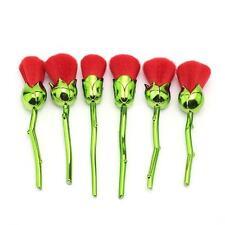 6pcs Único Flor Rosa Forma Diseño Verde Rojo brochas de maquillaje set belleza