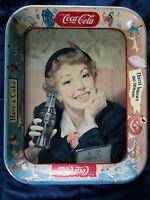 """VINTAGE 1950'S COCA-COLA TRAY """"THIRST KNOWS NO SEASON"""" MENU GIRL~~ 14"""" x 10 3/4"""""""