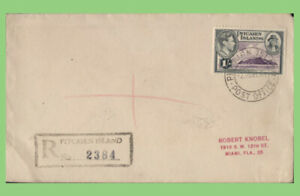 Pitcairn Islands 1947 KGVI 1/- on registered cover to USA