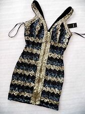 NWT Bebe hot gold sequin double v neck sexy zip front top dress S small 4 party