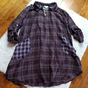 NWT Umgee Tunic Dress Flannel Plaid Pockets Lagenlook Oversized Top Medium