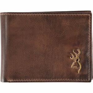 Browning Genuine Leather Bi-fold Billfold Wallet -  Brass Buckmark Logo