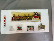 Hawthorne Village Thomas Kinkade Santa & Reindeer Elf Figurine Set New In Box