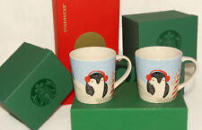 STARBUCKS - 2016 - Set of 2 - Penguin - 8 oz Coffee MUGS / Cups *SOLD OUT *HTF!
