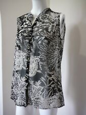 MILLERS Womens Top Black and White Button Through Summer Every Day Size 16