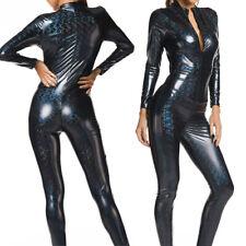 Ladies Faux Leather Metallic PVC Catsuit Jumpsuit Wet-Look Bodysuit 2 Way Zipper