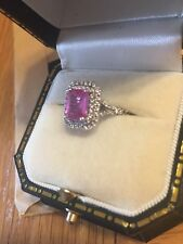 18 carat white gold pink sapphire diamond ring