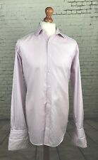 Osborne Mens Cotton Shirt - Size 16 - Pink & White Striped - Double Cuff