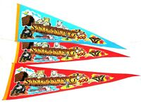 "Lot of 3 - Vintage San Francisco Zoo 26"" x 9"" Pennants Flag Blue City Animal Art"