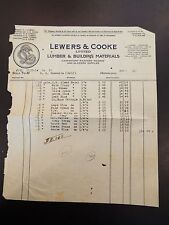 Lewers & Cooke Ltd. Lumber & Building Materials Vignette Letterhead Invoice 1921