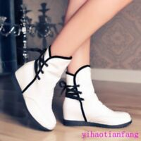 Women New Fashion Lace Up Leather Solid Round Toe Wedge Heels Ankle Boots Party