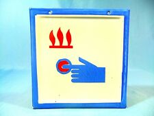 VINTAGE FIRE ALARM SIGNAL BUTTON FIREFIGHTING PORCELAIN ENAMEL METAL SIGN 1960's