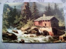 O33.Vintage Postcard.Watermill in a forest.River.