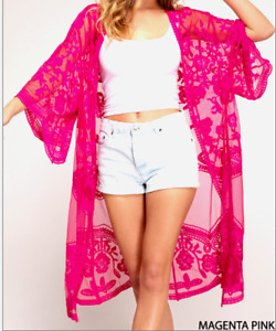 Kimono Sheer Embroidered Lace Long Cardigan Style Duster Magenta Pink