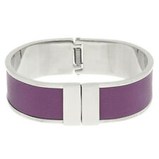 QVC Steel by Design Stainless Steel Purple Leather Inset Bangle Bracelet $79